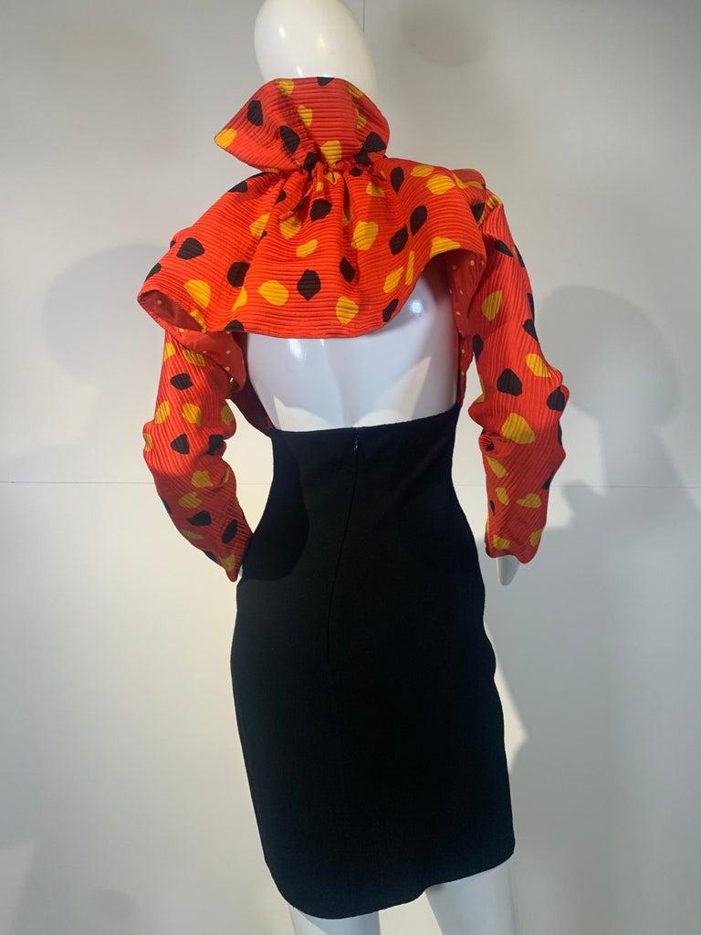 1992 Geoffrey Beene Red Black & Yellow Polka Dot Mini Dress & Bolero Size 6 For Sale 6