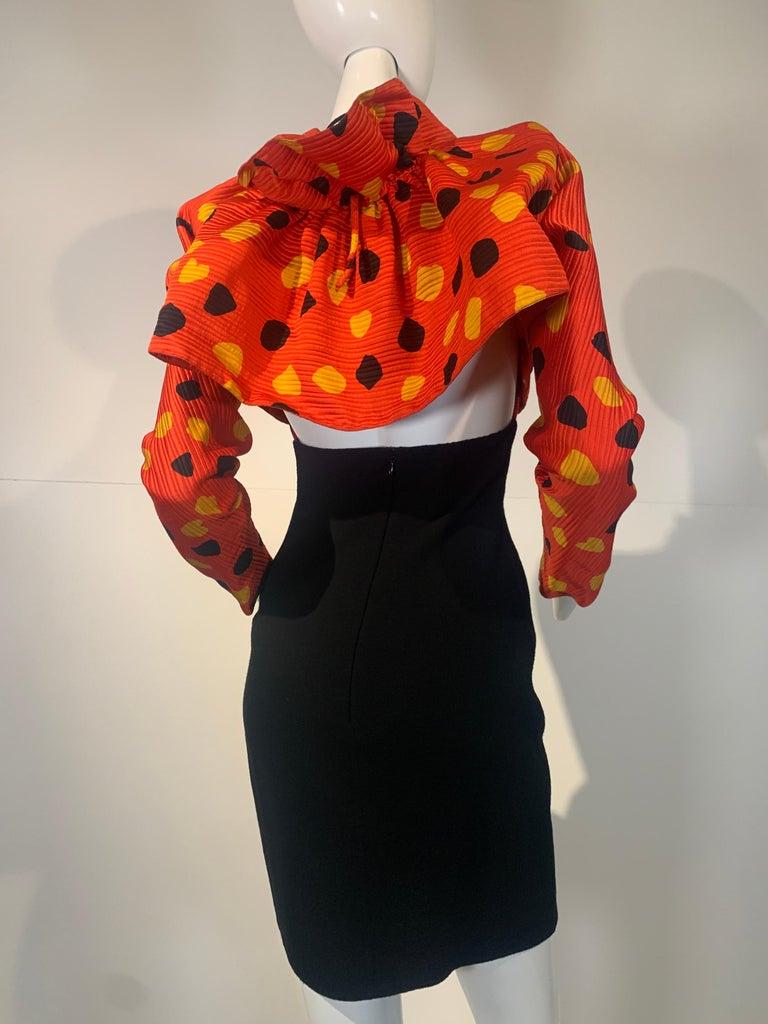 1992 Geoffrey Beene Red Black & Yellow Polka Dot Mini Dress & Bolero Size 6 For Sale 7
