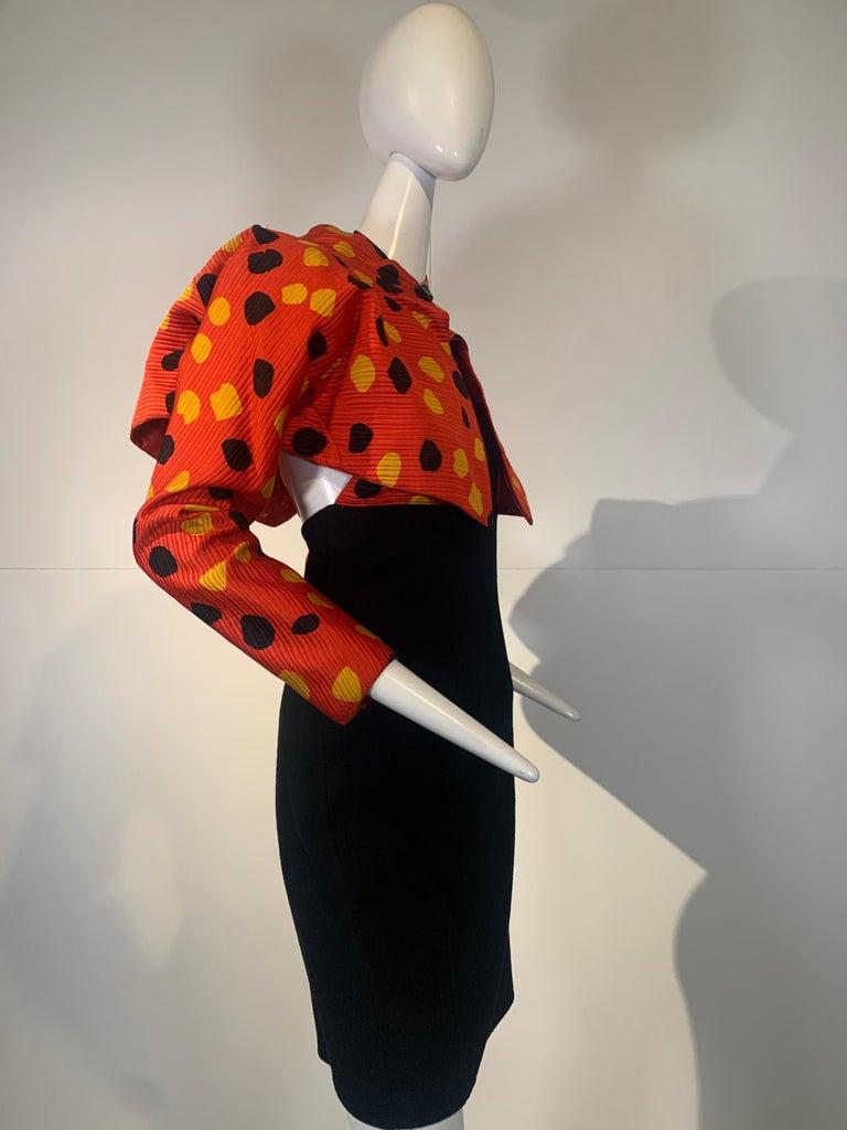 1992 Geoffrey Beene Red Black & Yellow Polka Dot Mini Dress & Bolero Size 6 For Sale 8