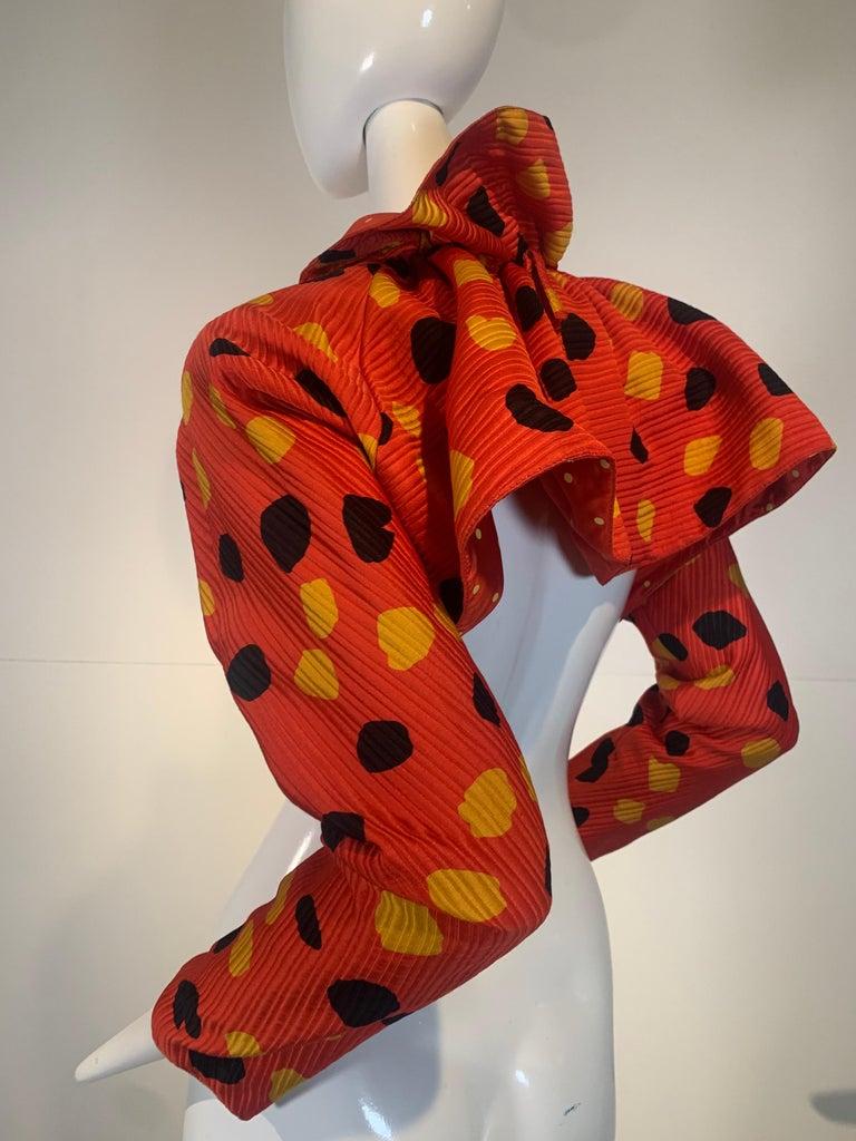 1992 Geoffrey Beene Red Black & Yellow Polka Dot Mini Dress & Bolero Size 6 For Sale 11