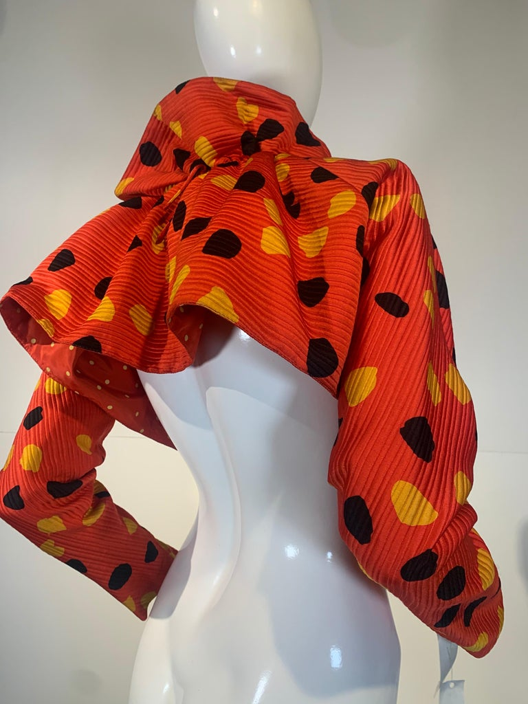 1992 Geoffrey Beene Red Black & Yellow Polka Dot Mini Dress & Bolero Size 6 For Sale 13