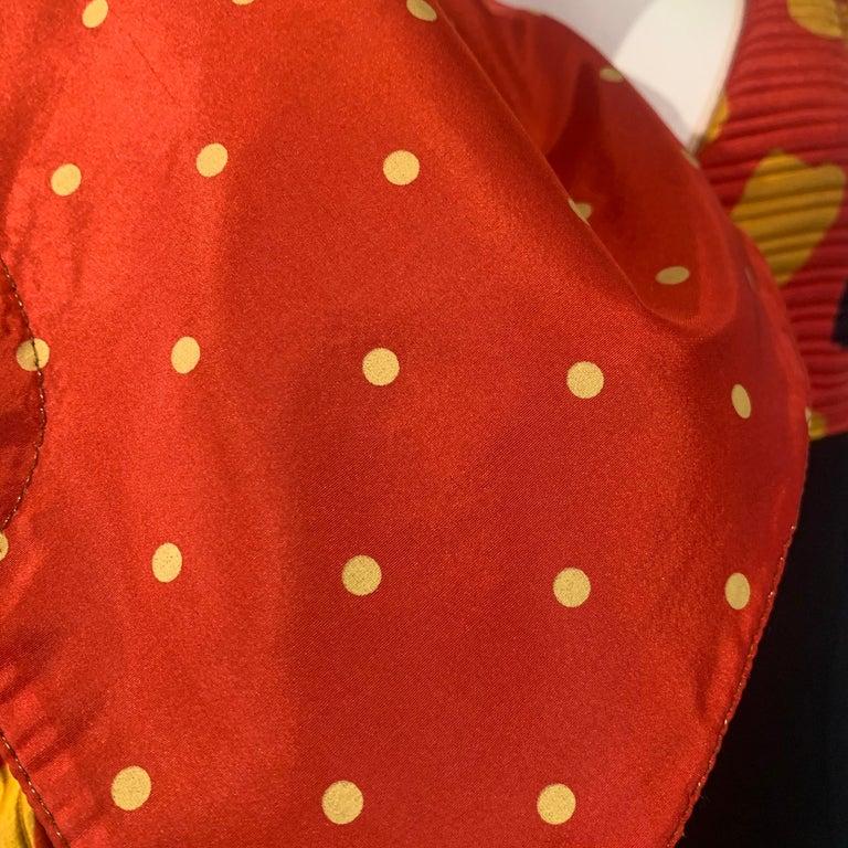 1992 Geoffrey Beene Red Black & Yellow Polka Dot Mini Dress & Bolero Size 6 For Sale 16