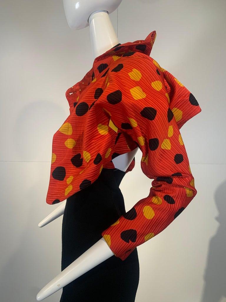1992 Geoffrey Beene Red Black & Yellow Polka Dot Mini Dress & Bolero Size 6 For Sale 2
