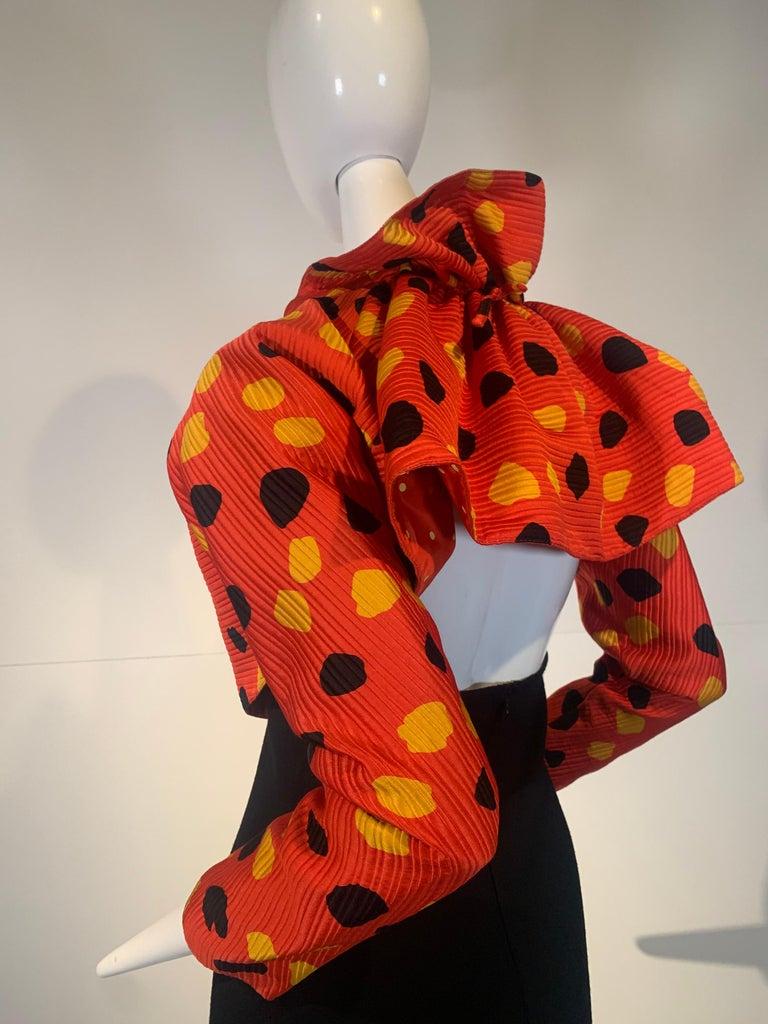1992 Geoffrey Beene Red Black & Yellow Polka Dot Mini Dress & Bolero Size 6 For Sale 4