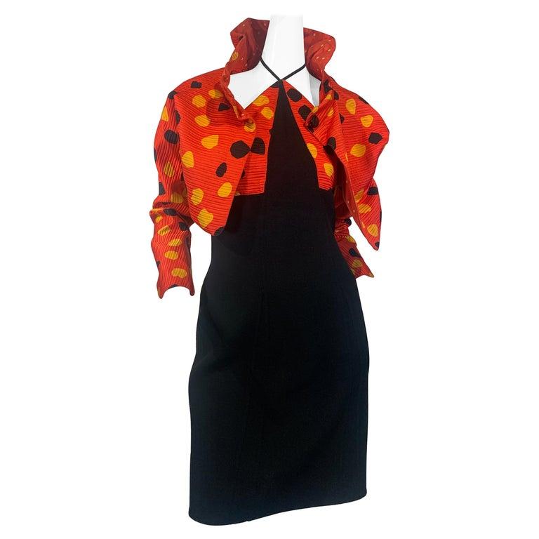 1992 Geoffrey Beene Red Black & Yellow Polka Dot Mini Dress & Bolero Size 6 For Sale