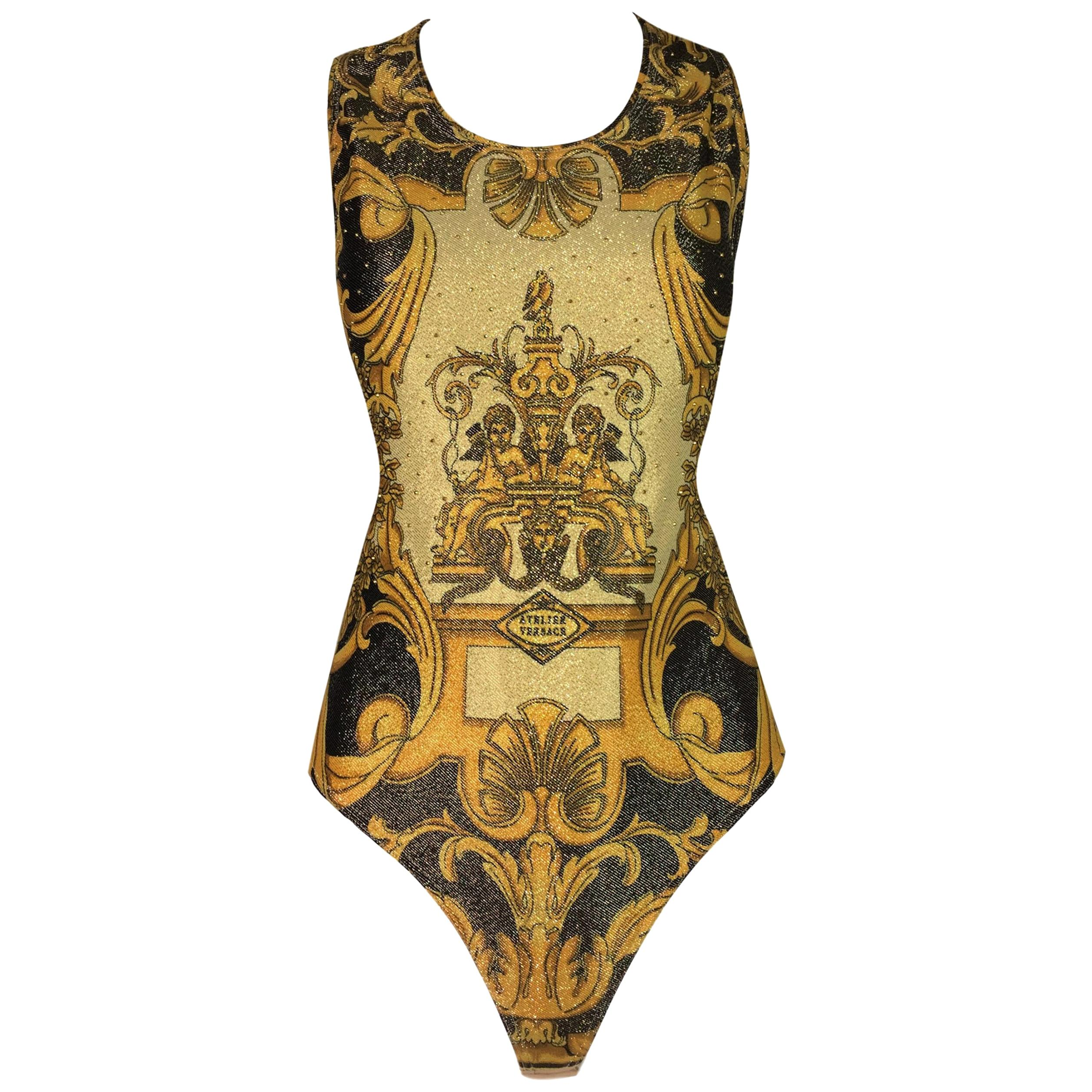 1992 Gianni Versace Atelier Print Gold Studded Bodysuit Top 42