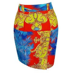 1992 Gianni Versace Couture Colorful Baroque Novelty Palm-Trees Print Mini Skirt