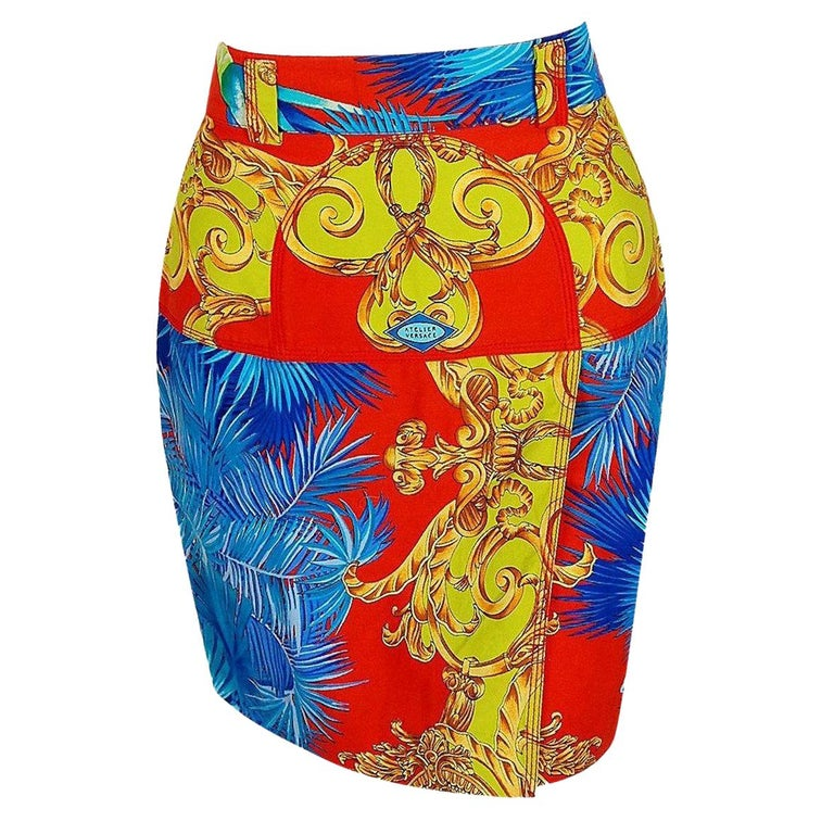 1992 Gianni Versace Couture Colorful Baroque Novelty Palm-Trees Print Mini Skirt For Sale