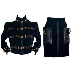 1992 GIANNI VERSACE COUTURE Iconic Leather Bondage Jacket Skirt Suit