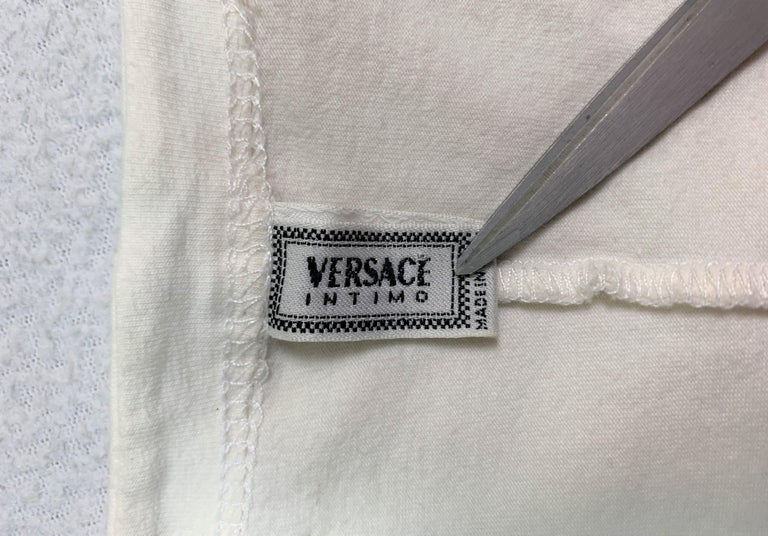 Women's 1992 Gianni Versace Ivory High Waist Leggings & Medusa Crop Top For Sale