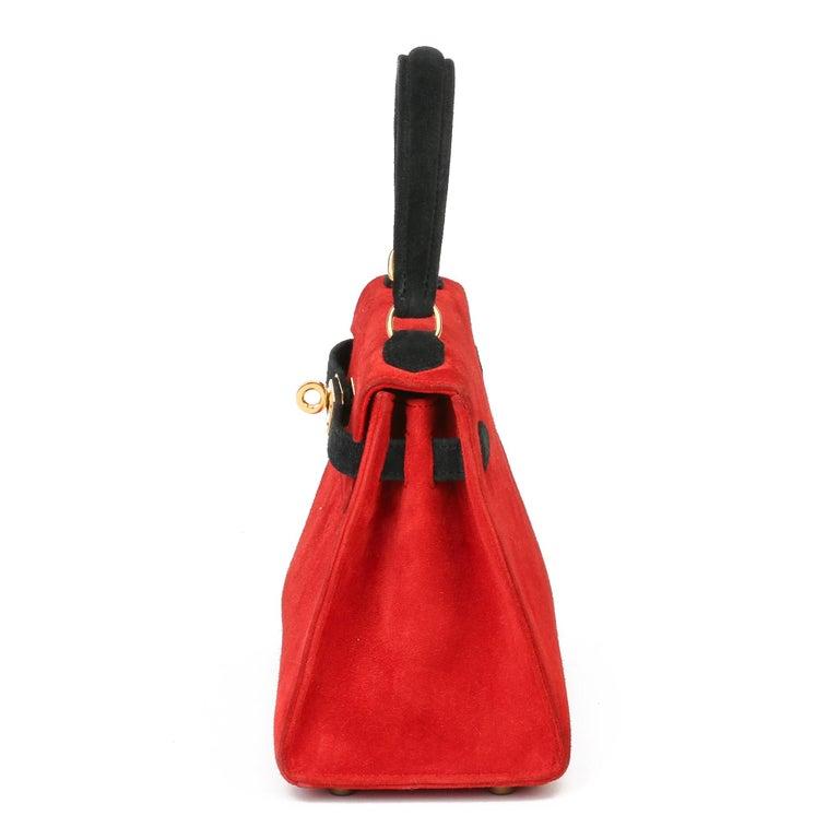 Red 1992 Hermès Rouge Vif & Black Veau Doblis Suede Vintage Kelly 20cm Sellier For Sale