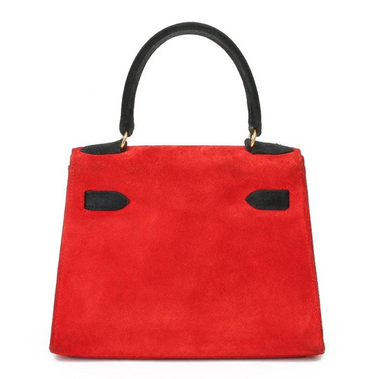 1992 Hermès Rouge Vif & Black Veau Doblis Suede Vintage Kelly 20cm Sellier In Excellent Condition For Sale In Bishop's Stortford, Hertfordshire