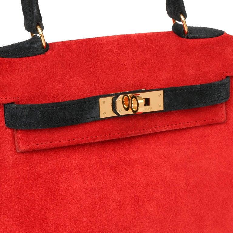 1992 Hermès Rouge Vif & Black Veau Doblis Suede Vintage Kelly 20cm Sellier For Sale 1