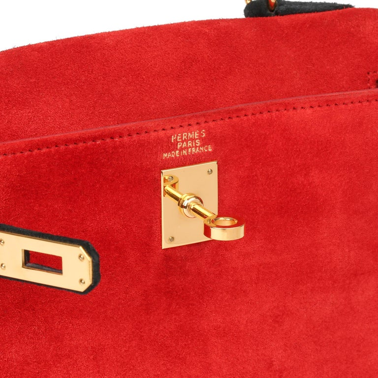 1992 Hermès Rouge Vif & Black Veau Doblis Suede Vintage Kelly 20cm Sellier For Sale 2
