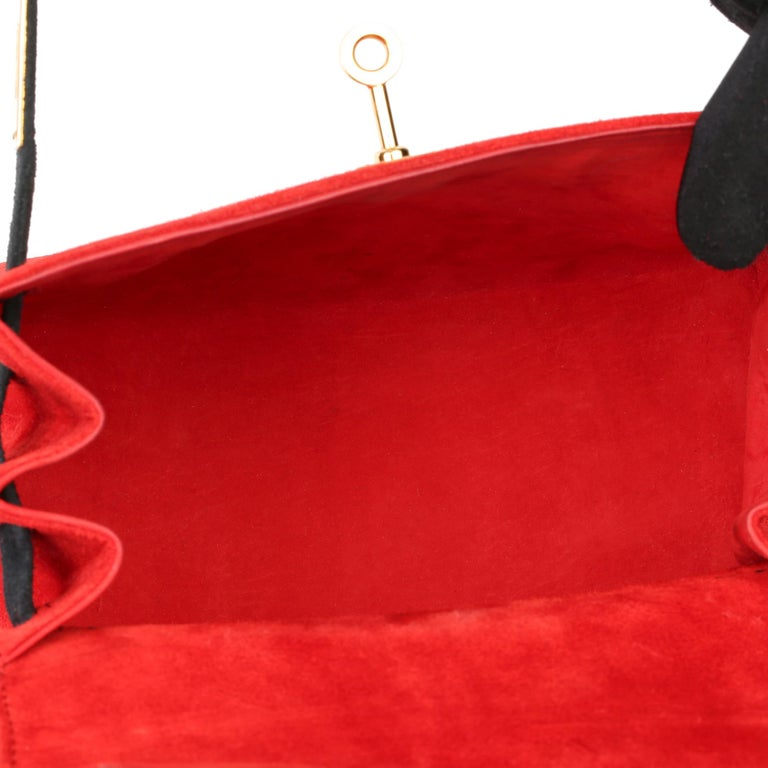 1992 Hermès Rouge Vif & Black Veau Doblis Suede Vintage Kelly 20cm Sellier For Sale 4