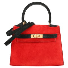1992 Hermès Rouge Vif & Black Veau Doblis Suede Vintage Kelly 20cm Sellier