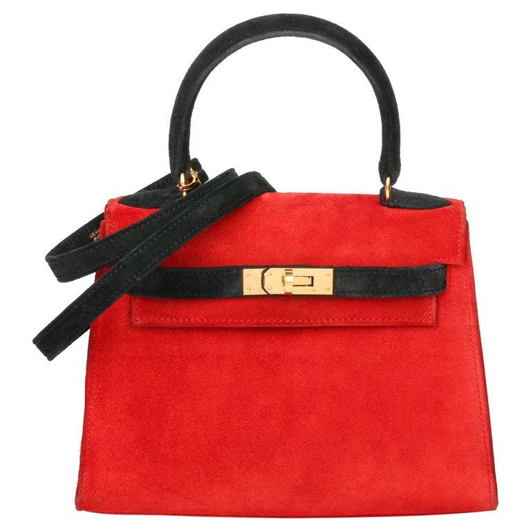 1992 Hermès Rouge Vif & Black Veau Doblis Suede Vintage Kelly 20cm Sellier For Sale