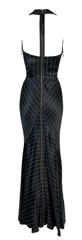 1992 Jean Paul Gaultier Pinstripe V-Neck Full Zipper Black Mermaid Gown Dress In Good Condition For Sale In Yukon, OK