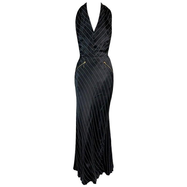 1992 Jean Paul Gaultier Pinstripe V-Neck Full Zipper Black Mermaid Gown Dress For Sale