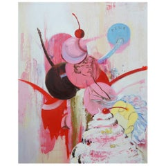 """1992 """"Pile"""" by Margaret Curtis Surrealist Oil on Board Ice Cream Cherry Nude"""