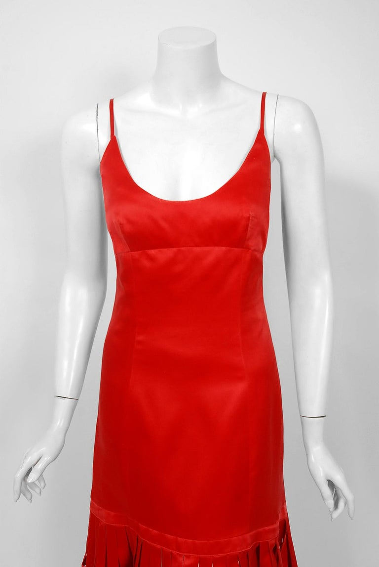 Women's Vintage 1992 Valentino Boutique Red Silk Birdcage Cut-Out Backless Maxi Dress For Sale