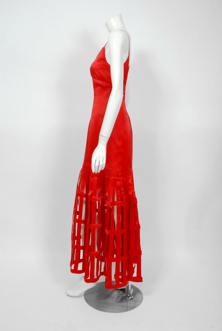 Vintage 1992 Valentino Boutique Red Silk Birdcage Cut-Out Backless Maxi Dress For Sale 4