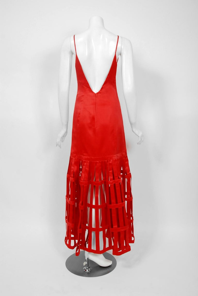 Vintage 1992 Valentino Boutique Red Silk Birdcage Cut-Out Backless Maxi Dress For Sale 5