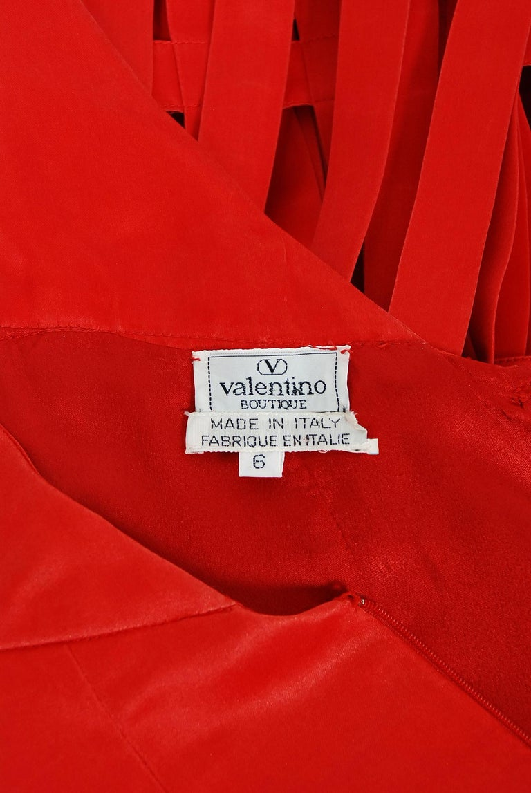 Vintage 1992 Valentino Boutique Red Silk Birdcage Cut-Out Backless Maxi Dress For Sale 6