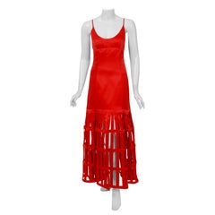 1992 Valentino Boutique Red Silk Low-Plunge Birdcage Cut-Out Backless Maxi Dress
