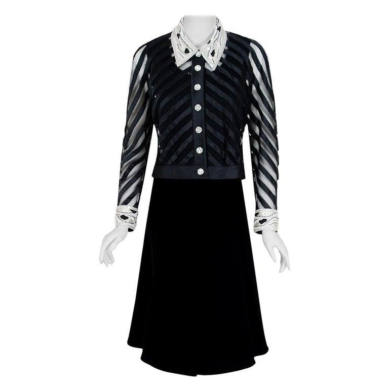 1992 Valentino Couture Black Sheer-Illusion Beaded Silk & Velvet Dress & Jacket For Sale