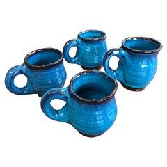 1992 Vintage Harding Black Glazed Pottery Mugs