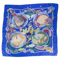 1992s Hermes Les Grands Fonds Blue Silk Scarf