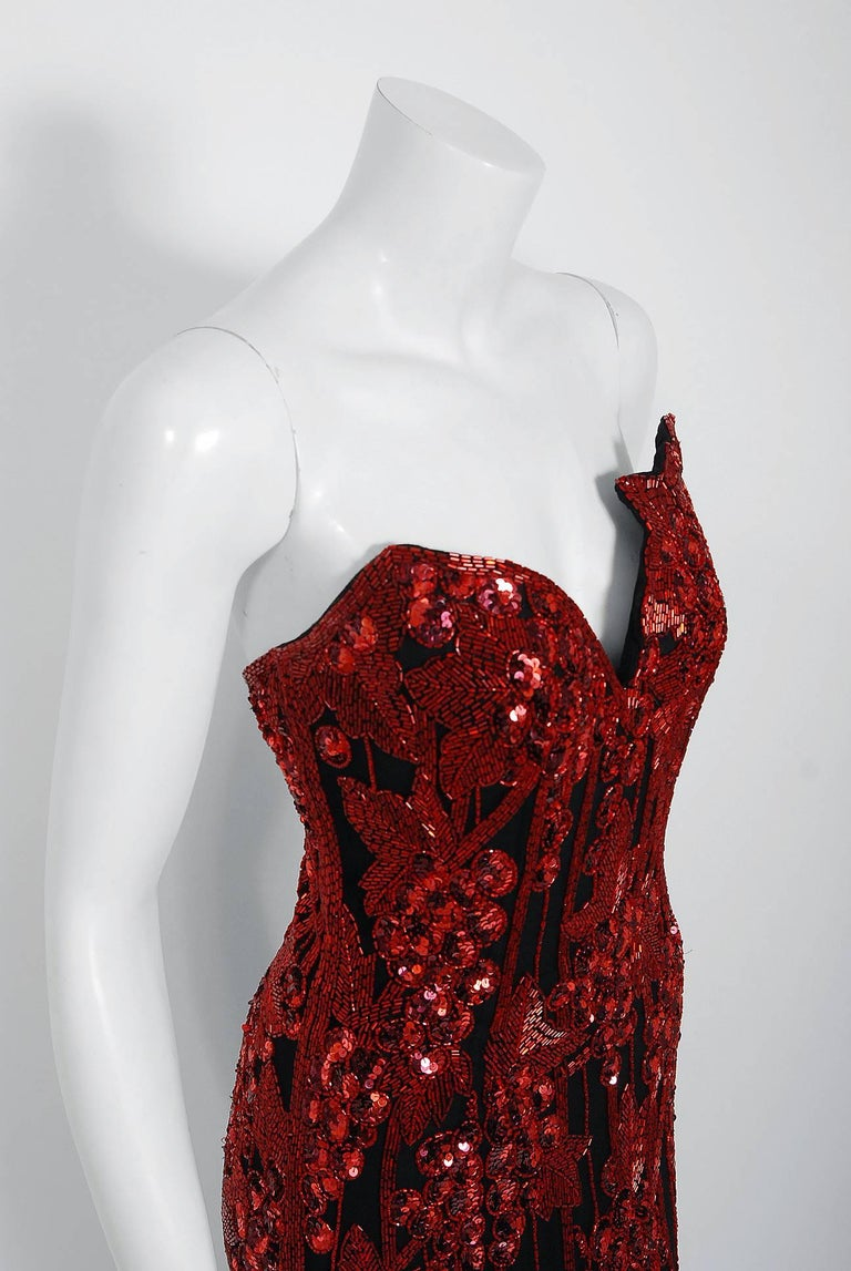 Vintage 1990 Bob Mackie Red Grapevines Beaded Silk Strapless Hourglass Slit Gown For Sale 1
