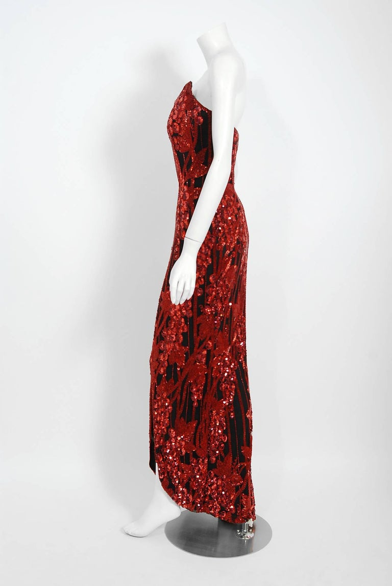 Vintage 1990 Bob Mackie Red Grapevines Beaded Silk Strapless Hourglass Slit Gown For Sale 3