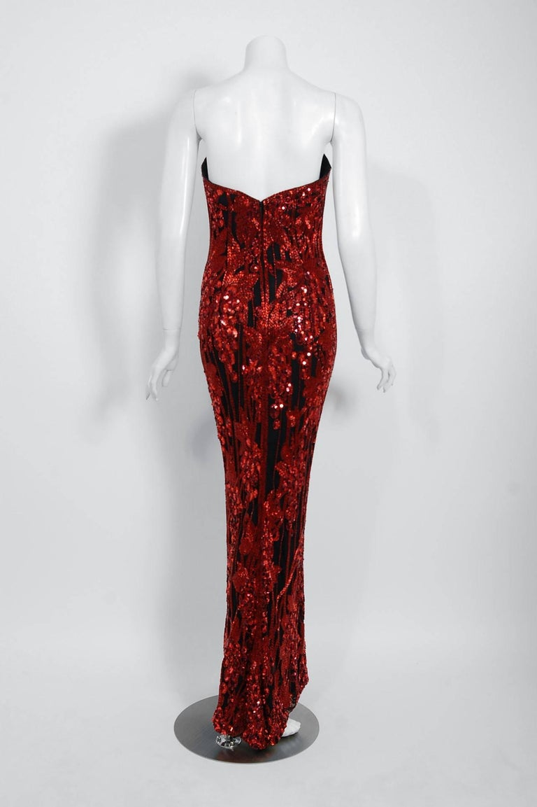 Vintage 1990 Bob Mackie Red Grapevines Beaded Silk Strapless Hourglass Slit Gown For Sale 4