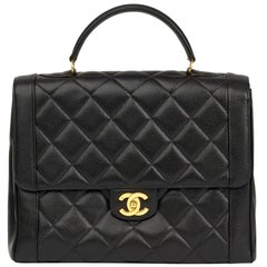 1993 Chanel Black Quilted Caviar Leather Vintage Classic Kelly