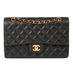 1993 Chanel Black Quilted Lambskin Vintage Medium Classic Double Flap Bag