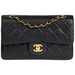 1993 Chanel Black Quilted Lambskin Vintage Small Classic Double Flap Bag
