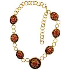 1993 CHANEL Byzantine Mogul Gripoix Poured Glass Medallion Necklace Belt