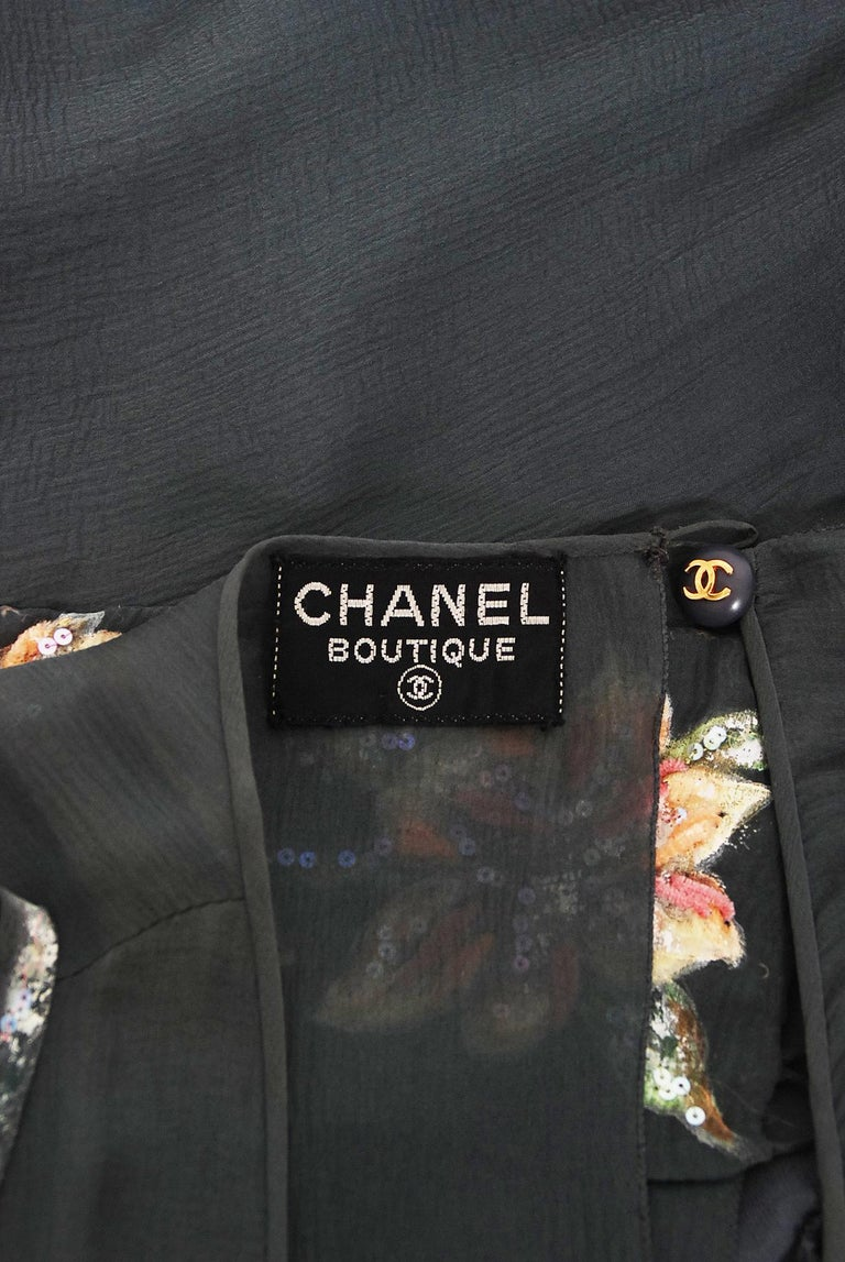 Vintage 1993 Chanel Documented Hand-Painted Sequin Floral Charcoal Chiffon Dress 5