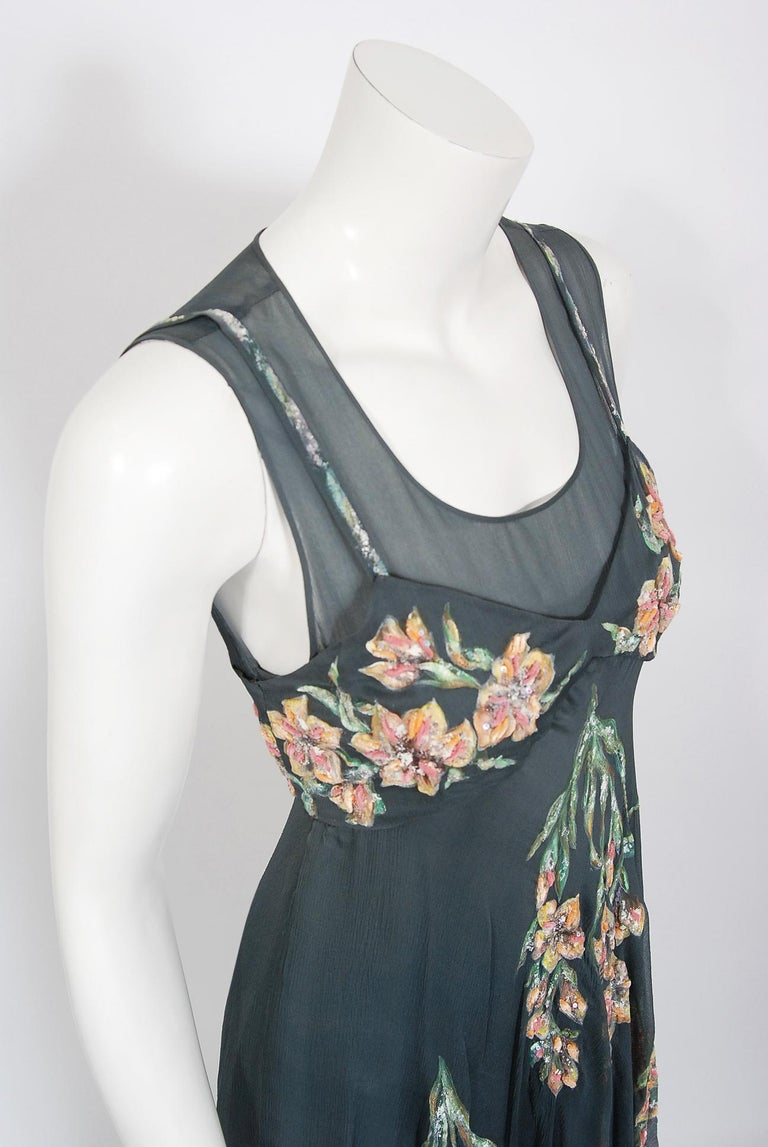 Vintage 1993 Chanel Documented Hand-Painted Sequin Floral Charcoal Chiffon Dress In Good Condition In Beverly Hills, CA