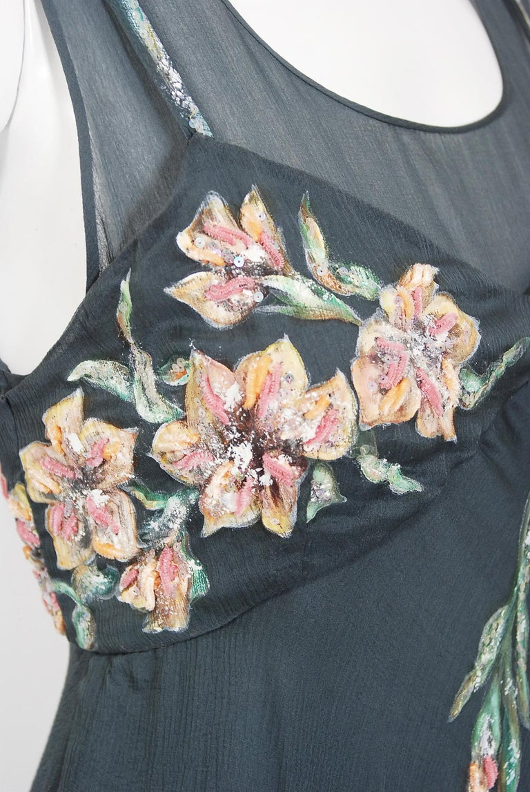 Women's Vintage 1993 Chanel Documented Hand-Painted Sequin Floral Charcoal Chiffon Dress