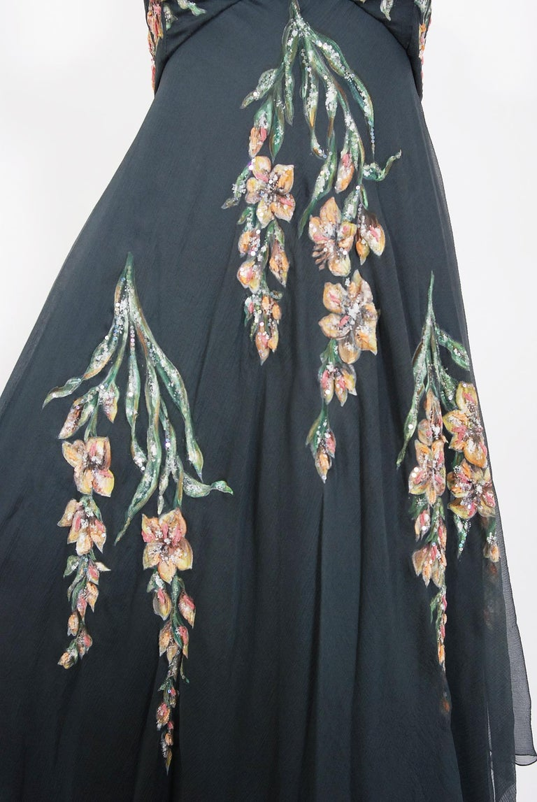 Vintage 1993 Chanel Documented Hand-Painted Sequin Floral Charcoal Chiffon Dress 1