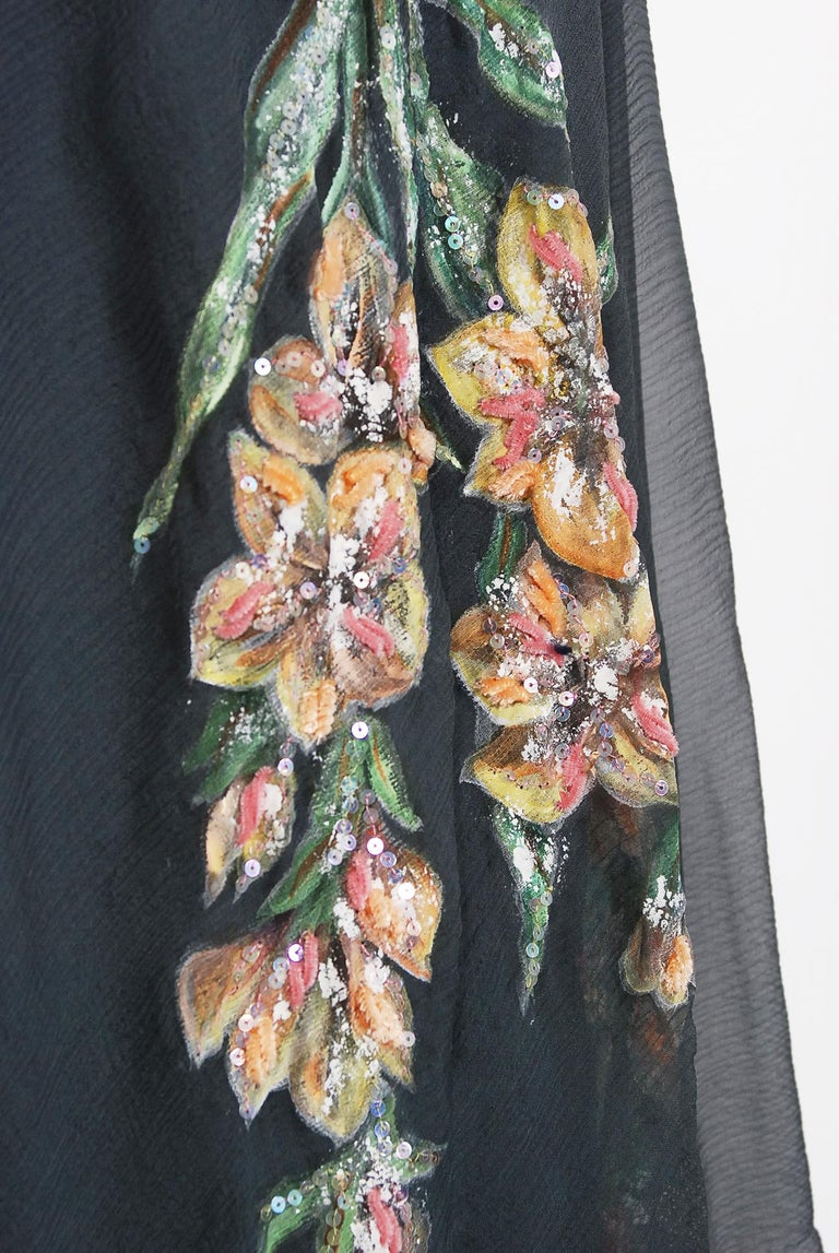 Vintage 1993 Chanel Documented Hand-Painted Sequin Floral Charcoal Chiffon Dress 2