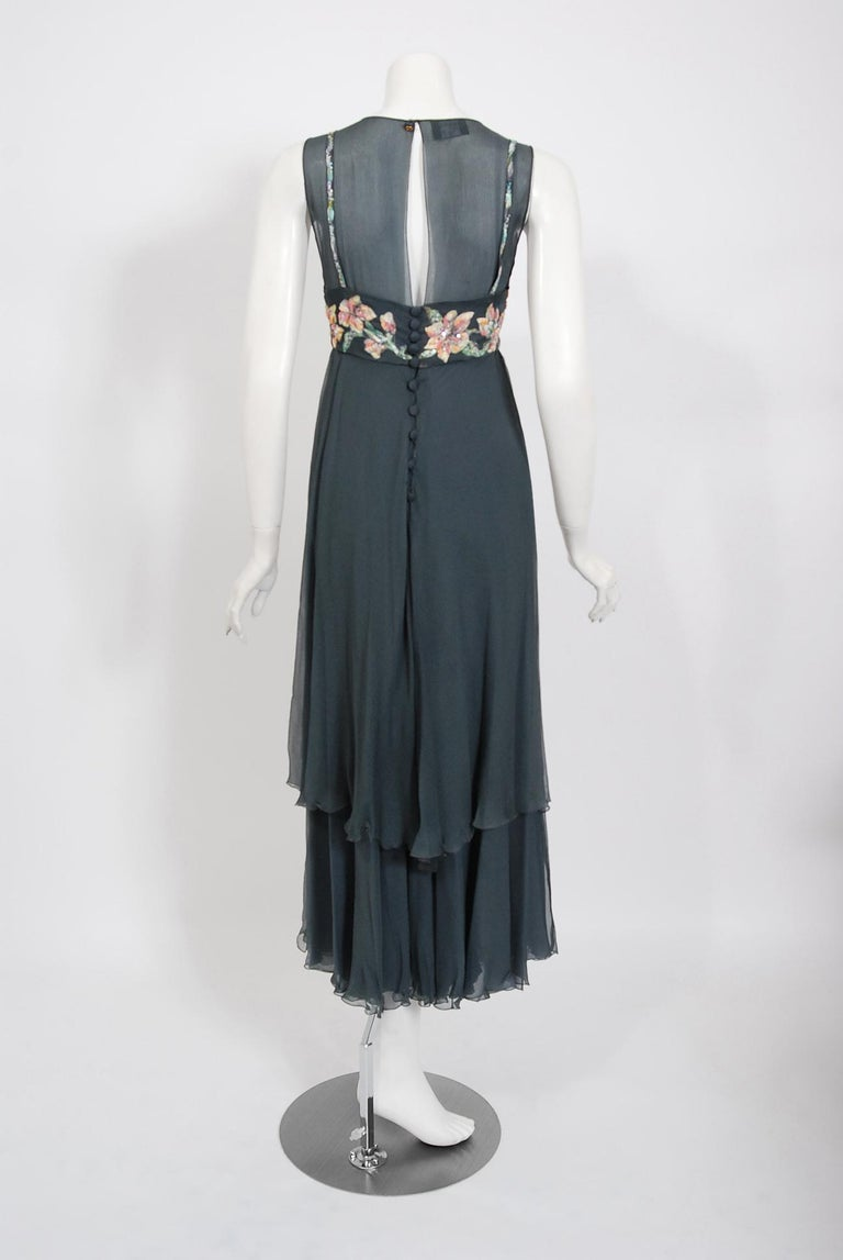 Vintage 1993 Chanel Documented Hand-Painted Sequin Floral Charcoal Chiffon Dress 3