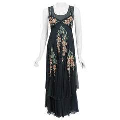 1993 Chanel Documented Hand-Painted Sequin Floral Charcoal Silk Chiffon Dress
