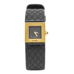 1993 Chanel Matelassé 18 Karat Yellow Gold and Black Leather Quartz Wrist Watch