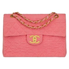 1993 Chanel Pink Quilted Denim Vintage Maxi Jumbo XL Flap Bag