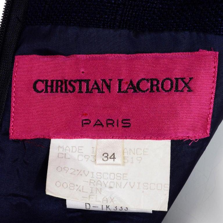 1993 Christian Lacroix Vintage Midnight Blue Dress W/ White Soutache Embroidery For Sale 10