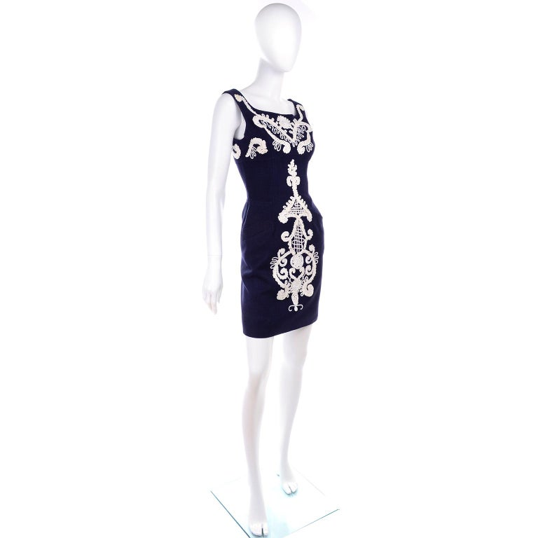 1993 Christian Lacroix Vintage Midnight Blue Dress W/ White Soutache Embroidery In Excellent Condition For Sale In Portland, OR